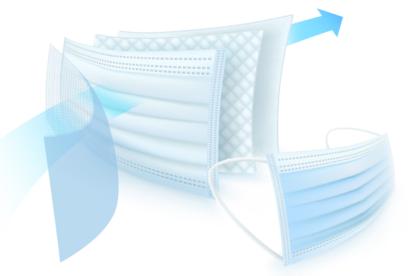Computer generated image of mask layers and a full mask isolated on white background
