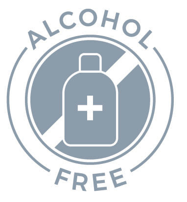 Alcohol-free circular cross-out icon of bottle with plus sign on it, noting it does not contain any alcohol