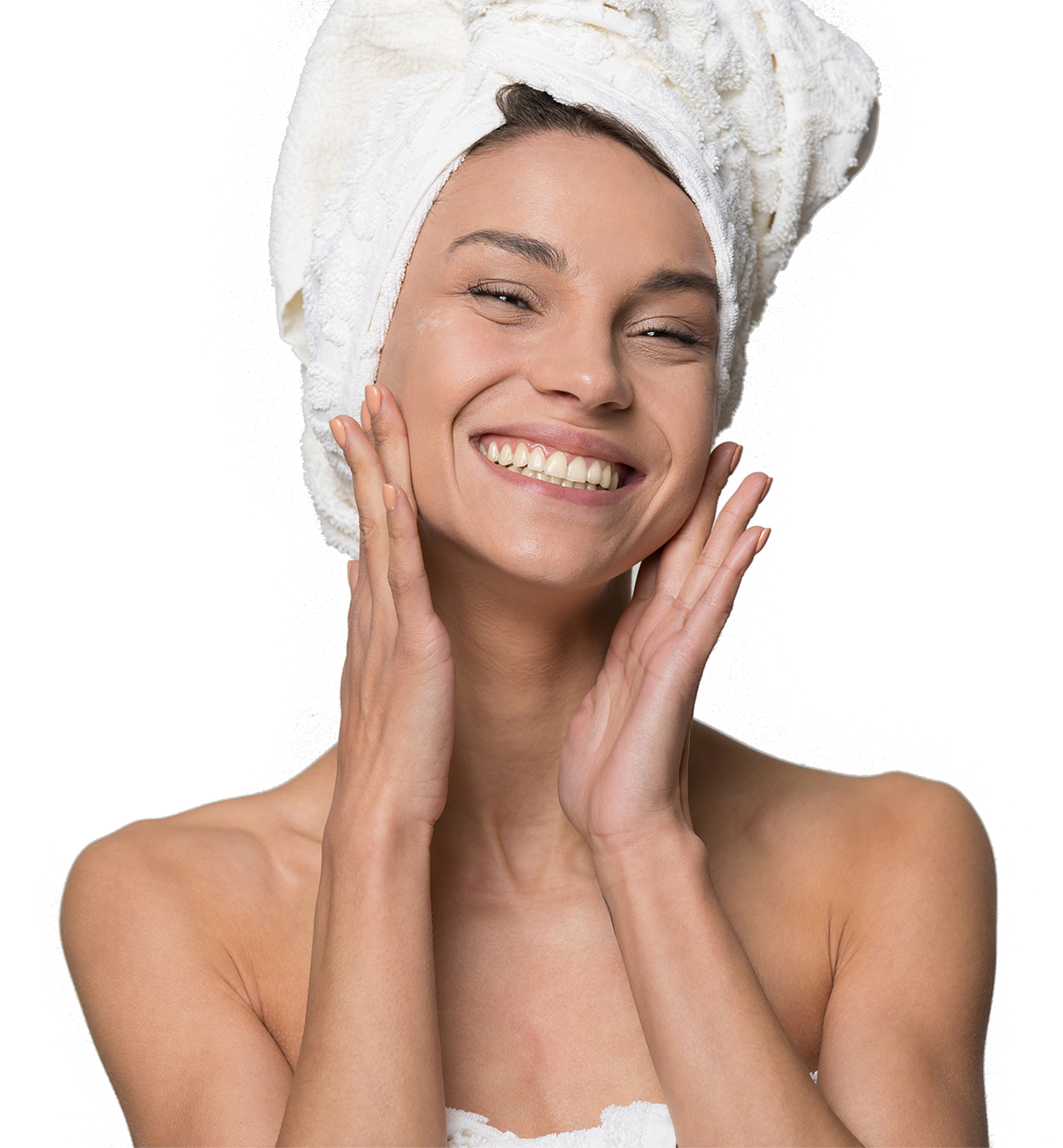 Woman with towel on head patting face with hands