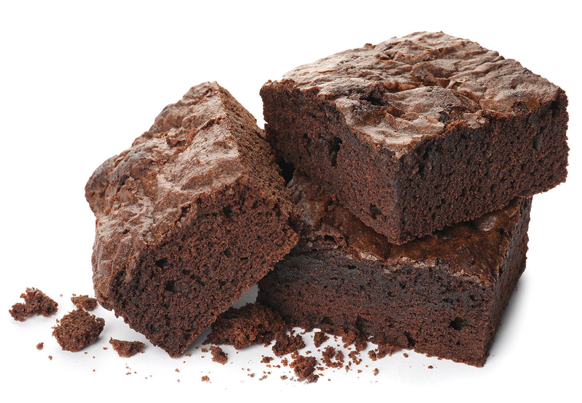 Three chocolate brownies isolated on white background