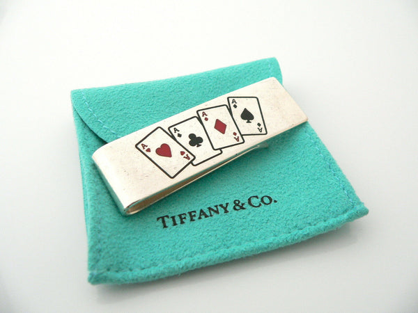 Tiffany & Co Silver Four 4 Aces Cards Heart Money Clip Holder Gift Poker Pouch