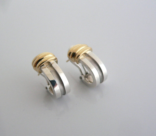 Tiffany & Co Silver 18K Gold Atlas Loop Earrings Pierced 18K Gold Post Gift Love