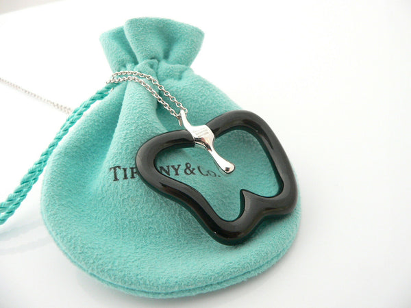 Tiffany & Co Silver Peretti Large Black Jade Apple Necklace 33 Inch Gift Pouch