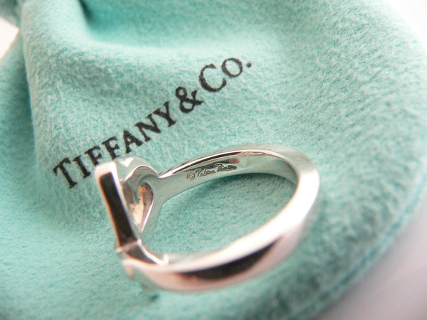 Tiffany & Co Silver Picasso Diamond Loving Heart Ring Band Sz 5 Gift Pouch Love