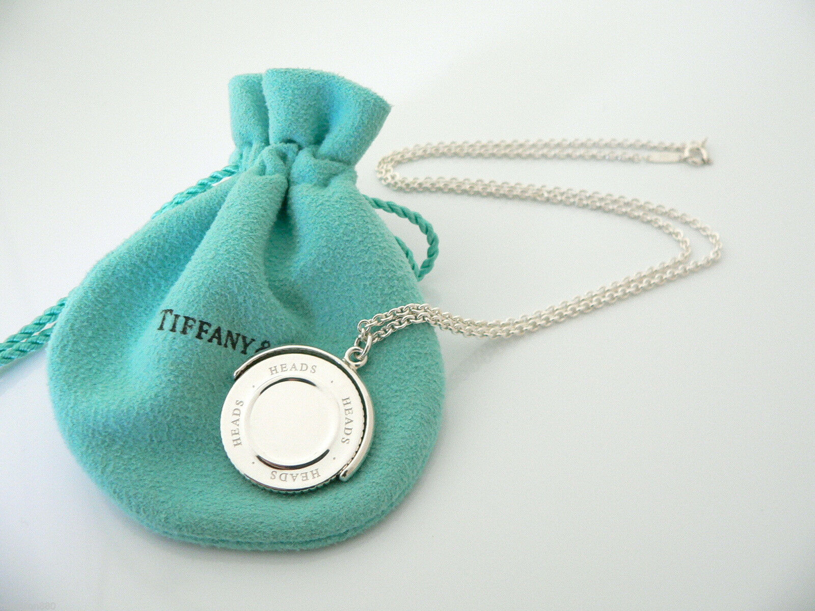 Tiffany & Co Silver Heads Tails Coin Flip Necklace Pendant Charm Chain Rare Gift