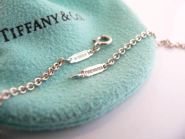Tiffany & Co Onyx Gemstone Fireworks Necklace Pendant 18 In Chain Silver Gift