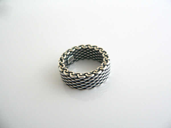 Tiffany & Co Silver Oxidized Mesh Stacking Ring Band Sz 5 Love Gift