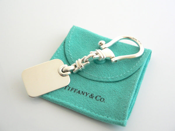 Tiffany & Co Silver Rectangle Link Key Ring Key Chain Keychain Engravable Gift