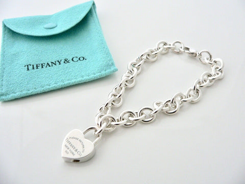 Tiffany & Co Blue Enamel Heart Padlock Bracelet Charm Love Gift Pouch 8 Inches