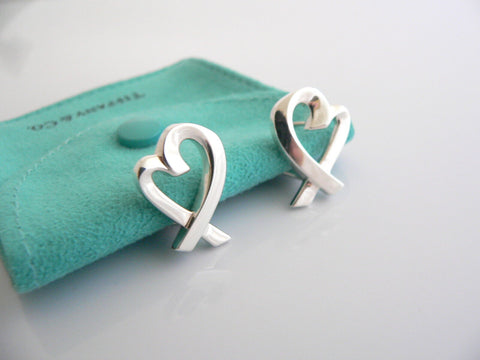 Tiffany & Co Silver Picasso Large Loving Heart Earrings Studs Rare Gift Pouch