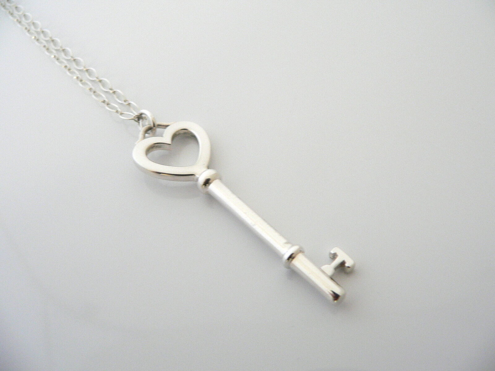 Tiffany Co Silver Large Heart Key Necklace Pendant 18 Inch Chain Gift Love Regular Price 268 00