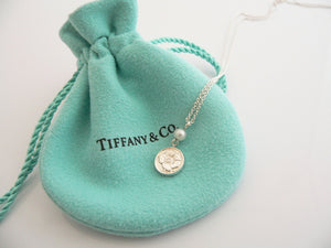 Tiffany & Co. Silver Nature Rose Pearl Necklace Pendant Charm Chain Gift Pouch