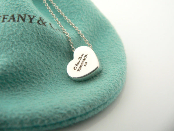 Tiffany & Co Silver Diamond Modern Heart Necklace 19.9 Inch Long Chain Gift Love