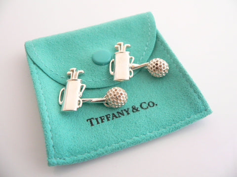 Tiffany & Co Silver Golf Ball Golf Bags Cuff Links Cuff Link Cufflink Rare Gift