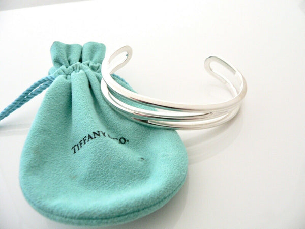 Tiffany & Co Silver Double Diagonal Open Cuff Bracelet Bangle Pouch Love Large