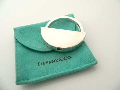 Tiffany & Co Silver Coin Edge Engravable Key Ring Keychain Rare Gift Pouch