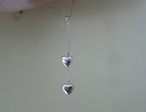 Tiffany & Co Silver Double Dangling Hearts Necklace Pendant Charm Gift Pouch