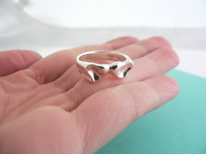 Tiffany & Co Peretti Silver Double Heart Ring Band Sz 6.5 Love Gift Rare