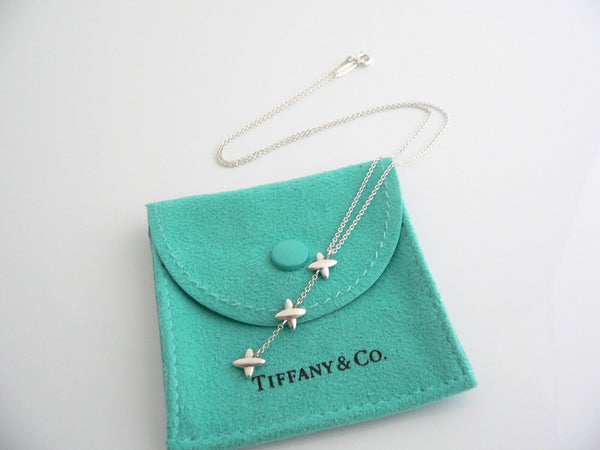 Tiffany & Co Silver Triple Signature Drop Dangle Dangling Necklace Pendant Chain