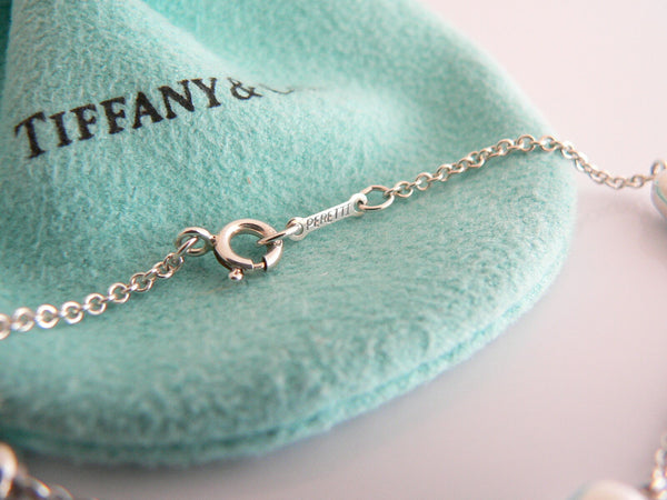 Tiffany & Co Silver Peretti 3 Three Bean Necklace Pendant Chain Charm I Love You