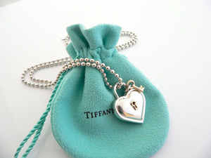 Tiffany & Co Silver 18K Gold Heart Key Necklace Pendant 20 Inch Gift Pouch Love