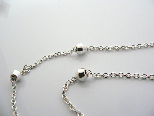 Tiffany & Co Silver Station Barrel Bead by the Yard Necklace Chain Pendant Gift