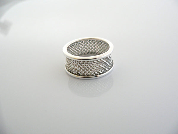Tiffany & Co Silver Mesh Ring Band Sz 7.25 Rare Gift Love Cool