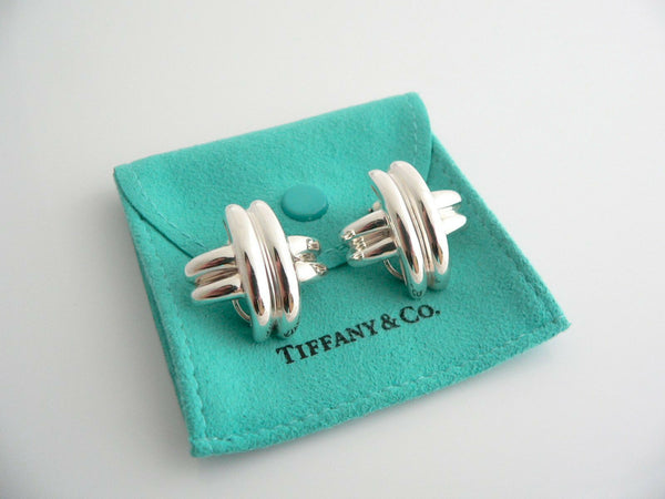 Tiffany & Co Silver Large Signature X Clip On Earrings Gift Pouch 1 Inch Size