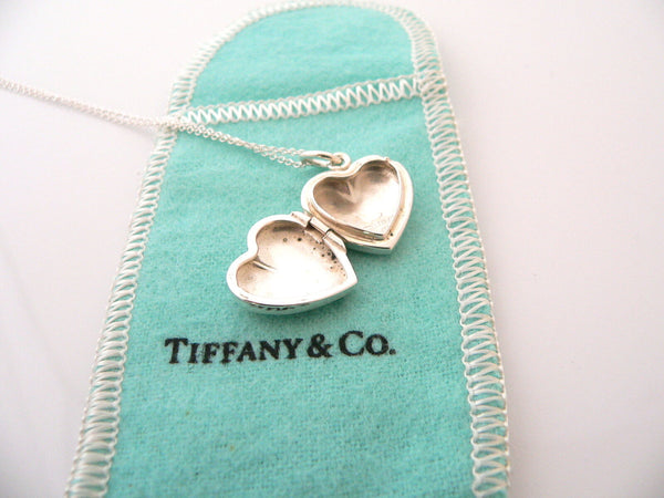 Tiffany & Co Silver Heart Locket Necklace Pendant Charm Chain Gift Pouch Love