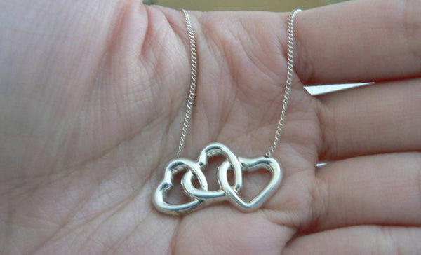 Tiffany & Co Silver Triple Heart Necklace Pendant 17.9 inch Chain Rare Gift Love