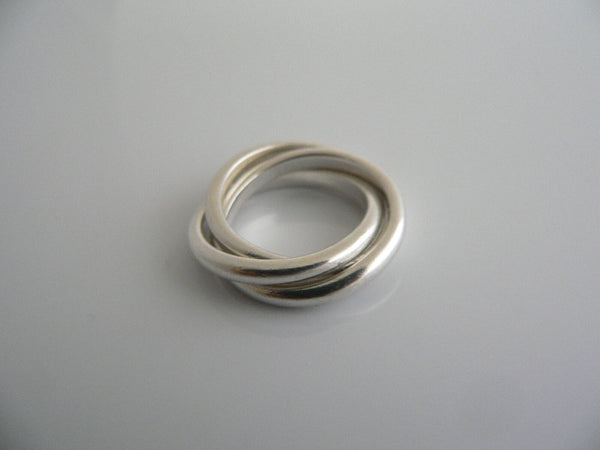 Tiffany & Co Silver Triple Rolling Interlocking Ring Band Sz 5 Gift Love
