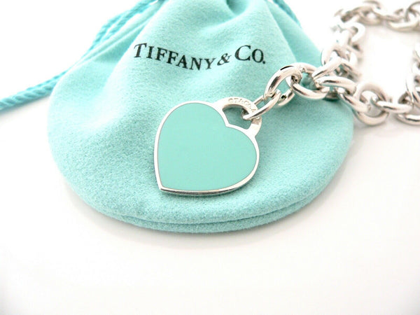 Tiffany & Co Silver Blue Enamel Heart Bracelet Bangle Charm Clasp Gift Pouch