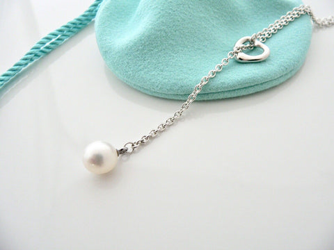 Tiffany & Co Silver Peretti Open Heart Pearl Lariat Necklace Pendant Chain Gift