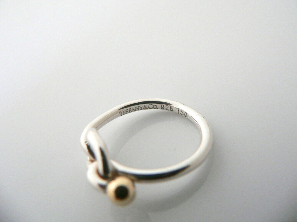 Tiffany Co Silver 18k Gold Love Knot Ring Band Sz 5 5 Rare Gift Love Statement