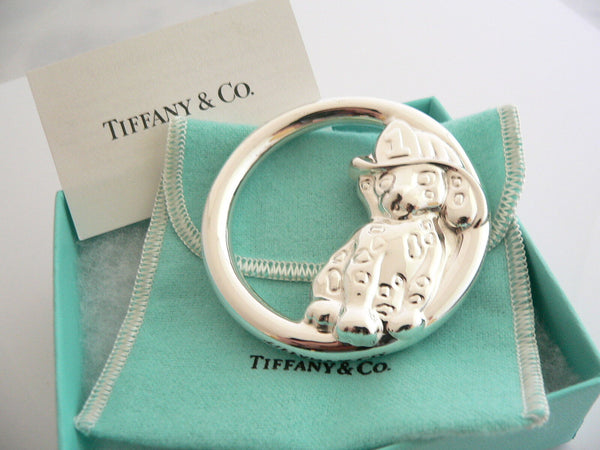 Tiffany & Co Sterling Silver Fireman Dalmatian Dog Baby Rattle Cute Gift Pouch