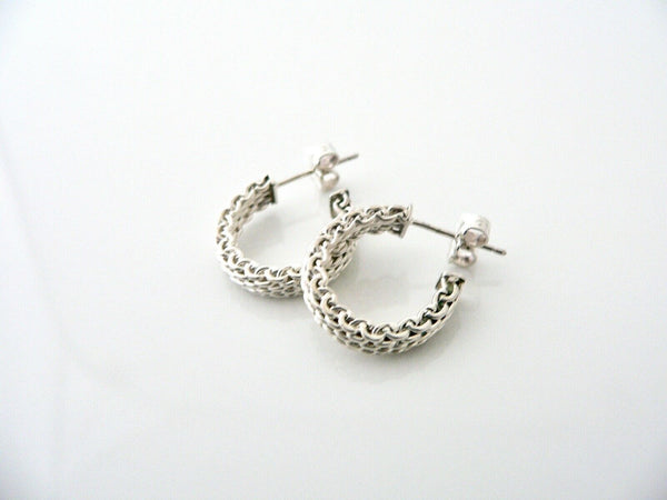 Tiffany & Co Silver Narrow Somerset Mesh Hoops Earrings Studs Rare Gift Love