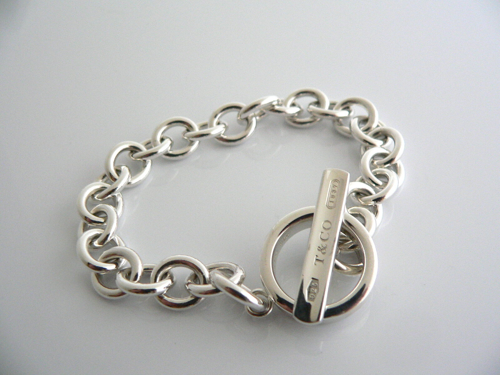 Tiffany & Co Silver 1837 Toggle Bracelet Bangle 8 Inch Chain Gift Love Statement