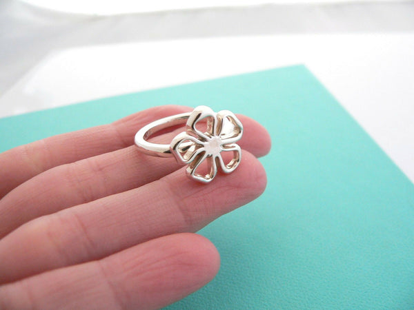 Tiffany & Co Silver Open Flower Ring Band Sz 6.75 Rare Nature Gift Love