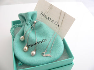 Tiffany & Co 18K Gold Pearl Drop Dangle Necklace Pendant Chain Gift Pouch Love