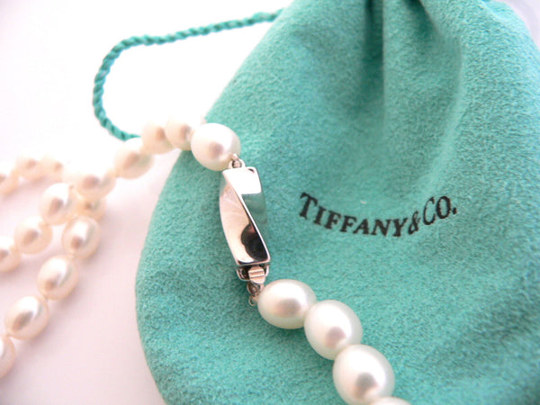 Tiffany & Co Pearl Necklace Strand Chain Rare Gift Pouch Love Statement