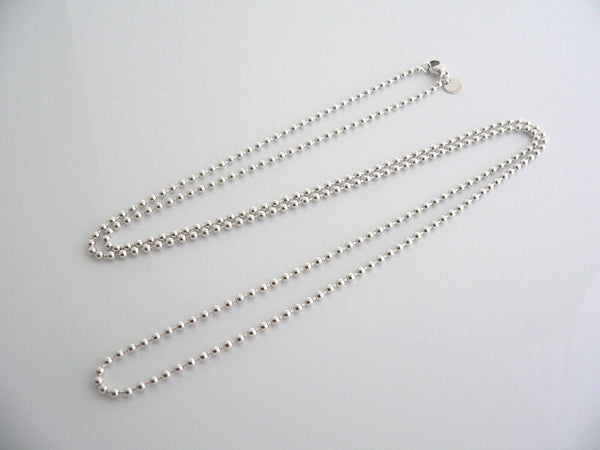 Tiffany & Co Silver 34 Inch Long Beaded Bead Necklace Chain Dog Tag Pendant Gift