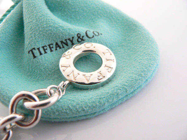Tiffany & Co Silver Mom Heart Padlock Charm Pendant Toggle Bracelet Gift Pouch