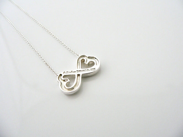 Tiffany & Co Silver Picasso Double Loving Heart Necklace 18.4 inch Chain Gift
