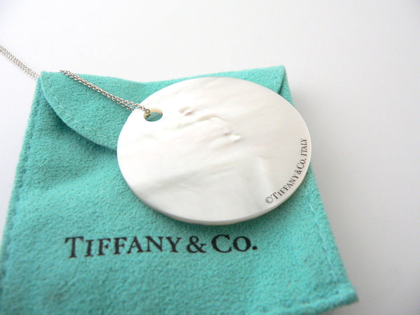 Tiffany & Co Silver Mother Of Pearl Notes Circle Necklace 20 In Chain Gift Pouch