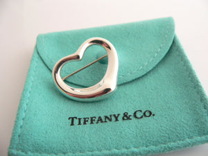 Tiffany & Co Silver Peretti Open Heart Brooch Pin Rare Gift Love Pouch