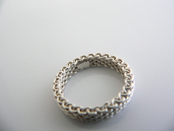 Tiffany & Co Silver Mesh Stacking Ring Band Sz 5.25 Gift Love Narrow Weave