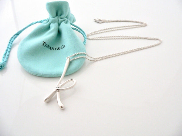 Tiffany & Co Peretti Alphabet K Necklace Pendant Charm Large 30 Inch Chain Gift
