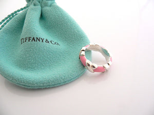 Tiffany & Co Silver Pink Enamel Signature X Wide Stacking Ring Band Sz 5 Gift