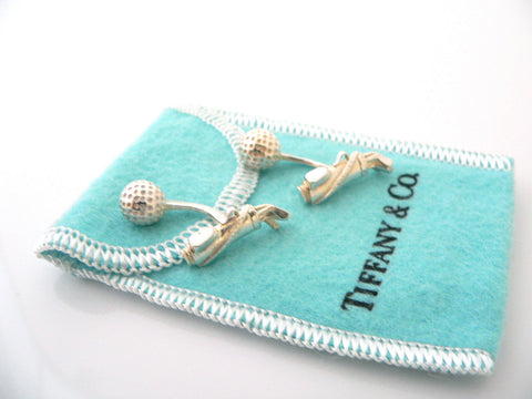 Tiffany & Co Silver Golf Bag Golf Ball Cuff Links Cuff Link Cufflink Rare Gift