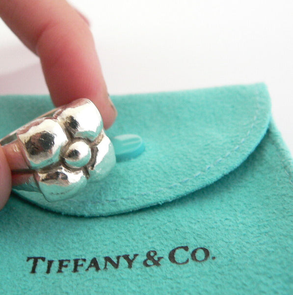 Tiffany & Co Silver Picasso Nature Flower Fiore Ring Band Sz 5.75 Gift Pouch
